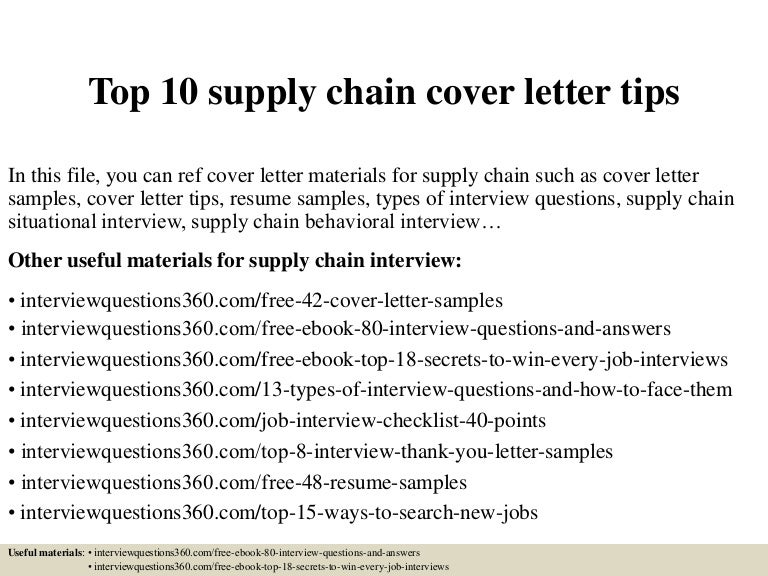 Supply Chain Planner Cover Letter Sample Livecareer. Supply Chain