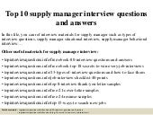 Top 10 supply manager interview questions and answers