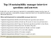 Top 10 sustainability manager interview questions and answers