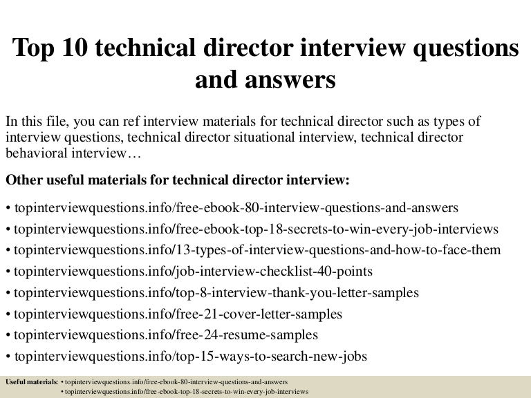 Top 10 technical director interview questions and answers – Technical Director Job Description
