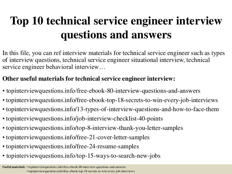 Top 10 technical service engineer interview questions and answers fandeluxe Images