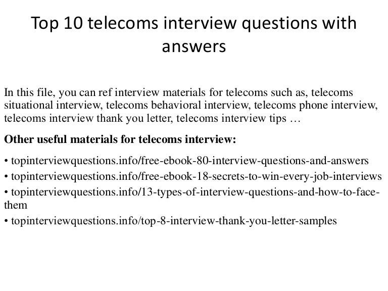 Top 10 telecoms interview questions with answers