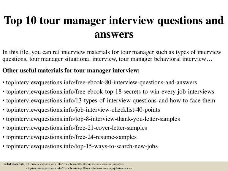 Top 10 tour manager interview questions and answers – Tour Manager Resume