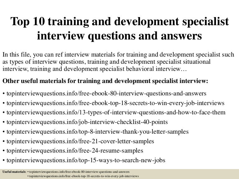 Top 10 training and development specialist interview questions and an fandeluxe Choice Image