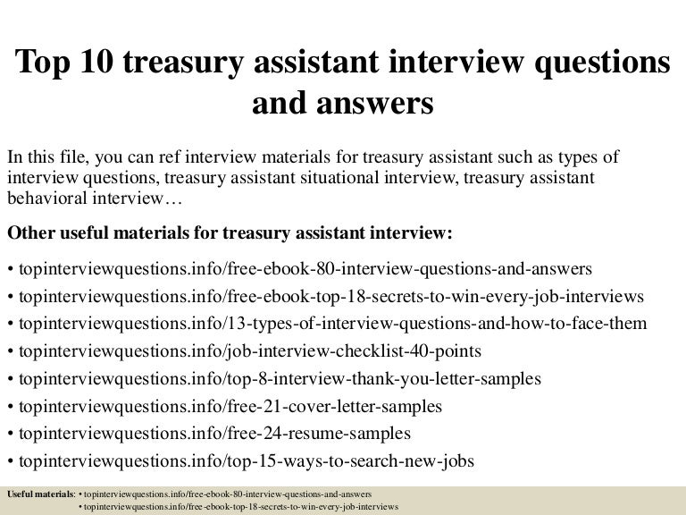 Top 10 treasury assistant interview questions and answers