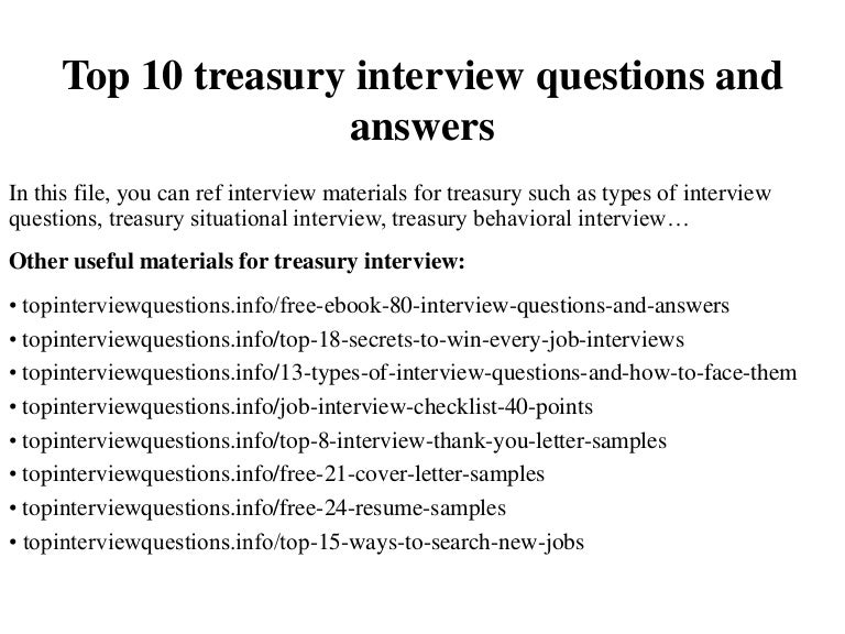 Top 10 treasury interview questions and answers