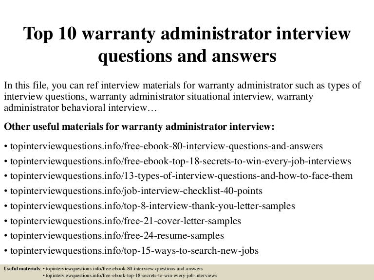 Top 10 warranty administrator interview questions and answers