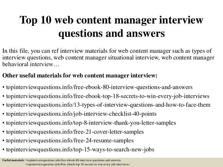 Top 10 web content manager interview questions and answers