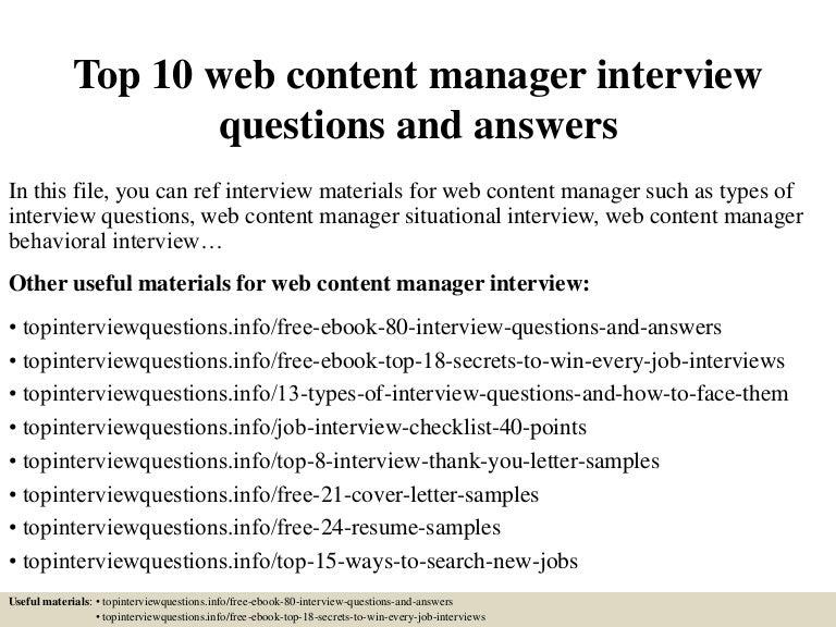 Top10webcontentmanagerinterviewquestionsandanswers 150407082853 Conversion Gate01 Thumbnail 4?cbu003d1428413385