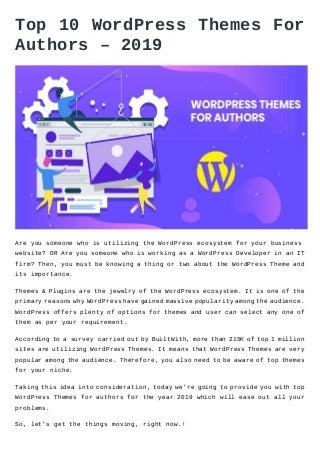 Top 10 word press themes for authors