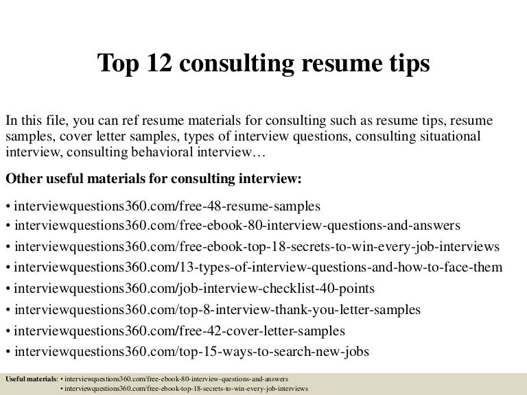 top 12 consulting resume tips