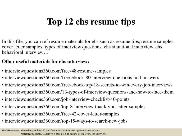 Top 12 ehs resume tips