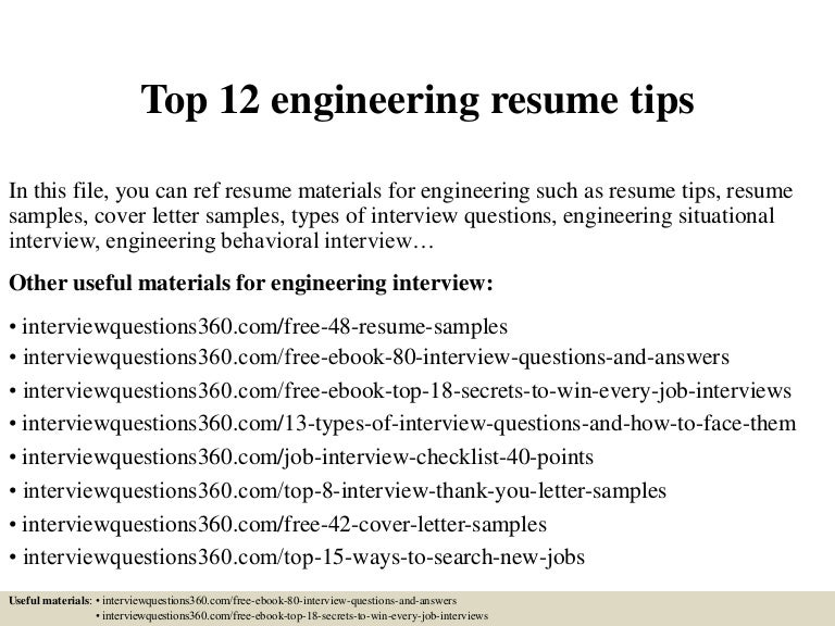 Top 12 engineering resume tips