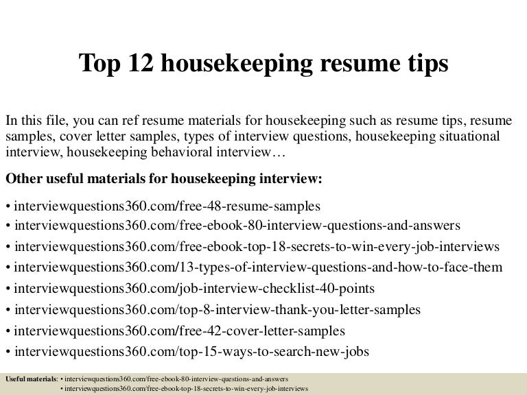 Housekeeping Resumes Housekeepingsupervisorresume Sample