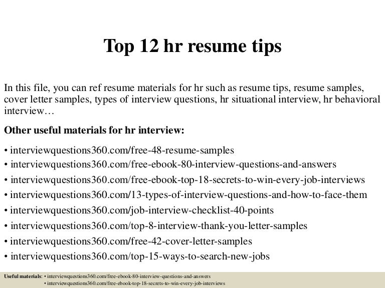 Top 12 Hr Resume Tips