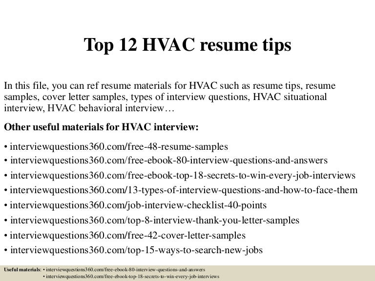 Hvac Resume   Resume Cv Cover Letter