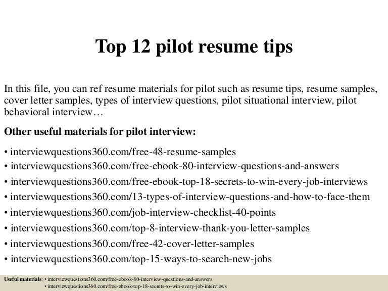 Sample Pilot Resume | Sample Resume And Free Resume Templates