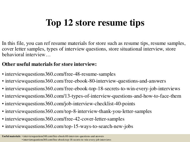 Top 12 Store Resume Tips