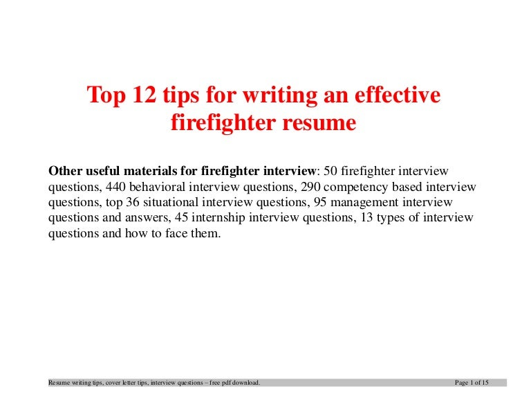 Top12tipsforwritinganeffectivefirefighterresume 140404003854 Phpapp01 Thumbnail 4cb1396571970