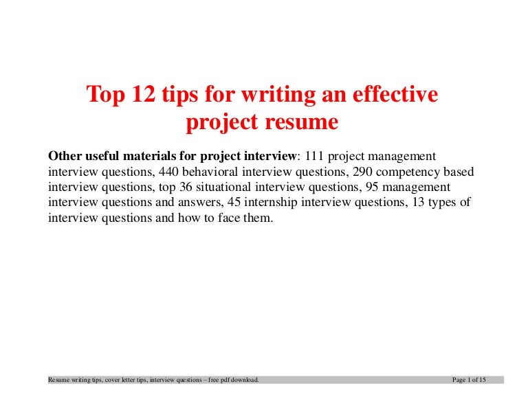 Top 12 Tips For Writing An Effective Project Resume