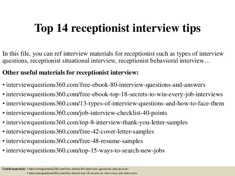 Receptionist Interview Questions And Answers Under