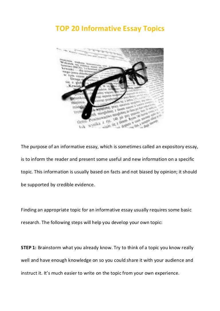 Informative Essay Ideas  Informative Essay Topics Titles  Informative Essay Ideas