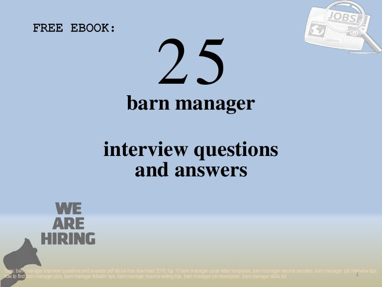 Top 25 barn manager interview questions and answers pdf ...