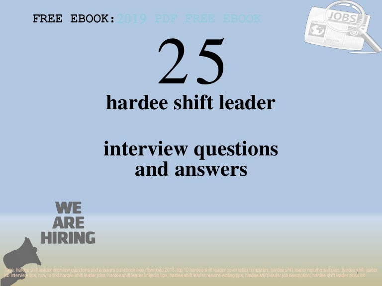 Top 25 hardee shift leader interview questions and answers ...