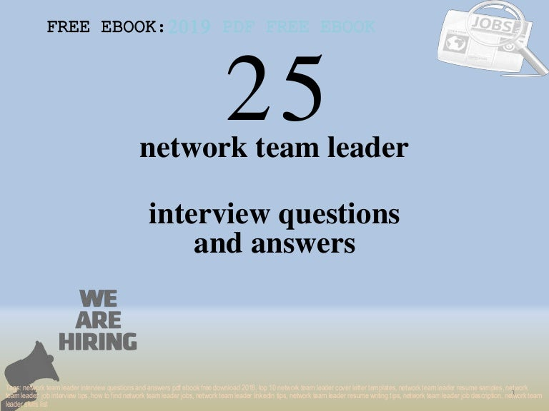 Top 25 network team leader interview questions and answers ...