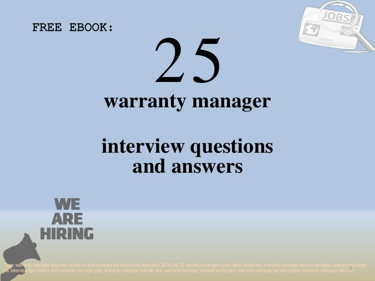 Top 25 warranty manager interview questions and answers pdf ebook fre…