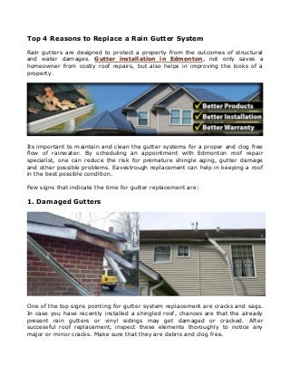 Top 4 Reasons to Replace a Rain Gutter System