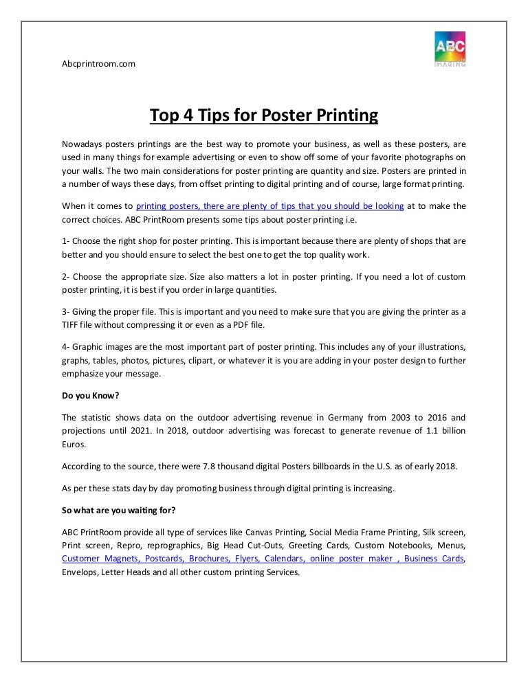 Top 4 Tips for Poster Printing