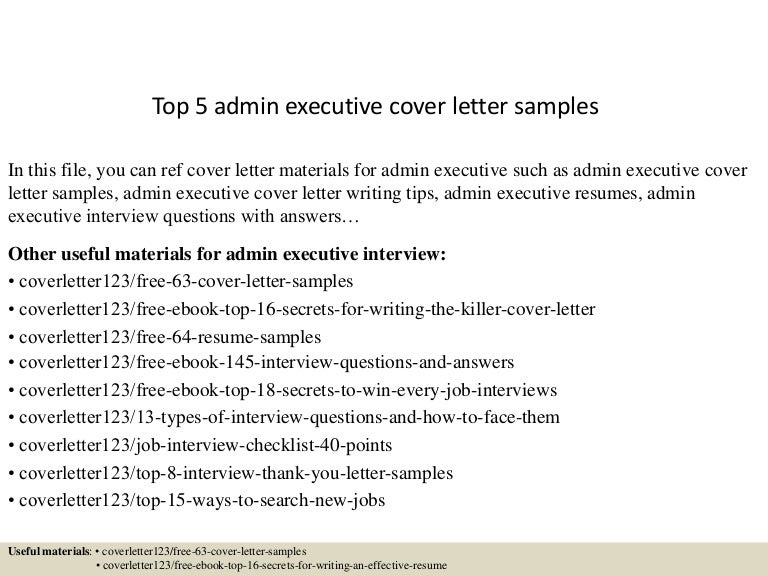 Top 5 admin executive cover letter samples