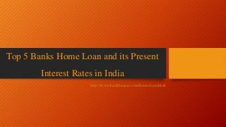Top 5 banks home loan & its interest rates
