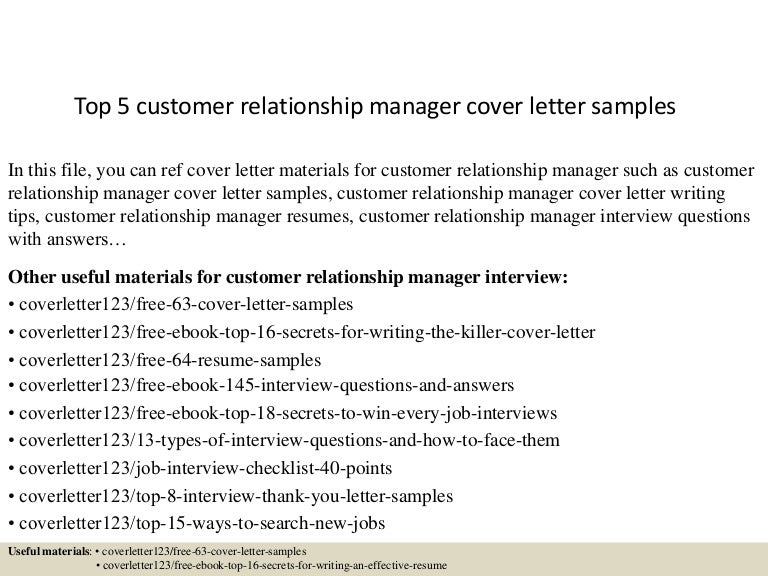 Top 5 customer relationship manager cover letter samples