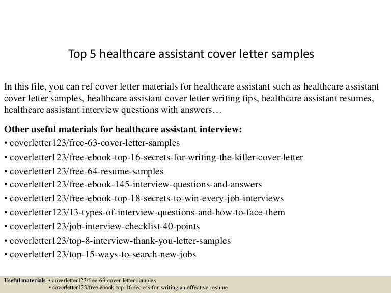healthcare assistant cover letter