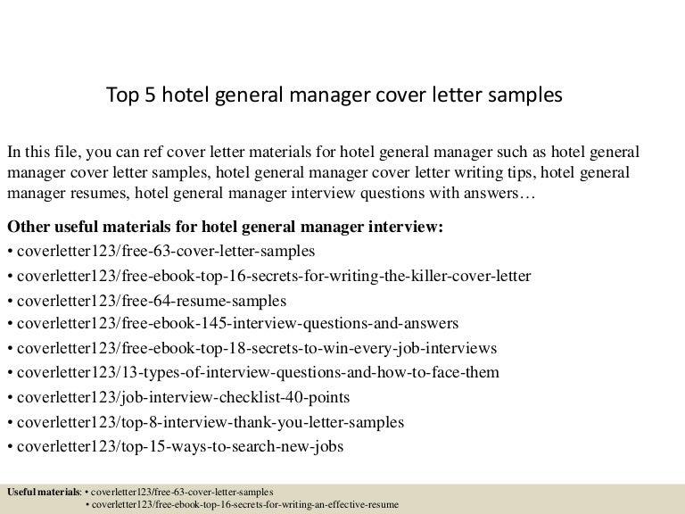 top 5 hotel general manager cover letter samples