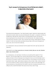 Top 5 Lessons For Entrepreneurs From PM Narendra Modi's Independence Day Speech!