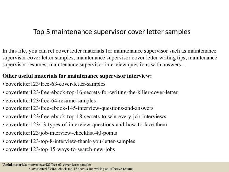 top5maintenancesupervisorcoverlettersamples150619084144lva1app6892thumbnail4jpgcb 1434703357 – Maintenance Supervisor Cover Letter