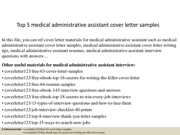 top5medicaladministrativeassistantcoverlettersamples 150621002357 lva1 app6891 thumbnail 4jpgcb1434846287 - Cover Letters For Administrative Assistants