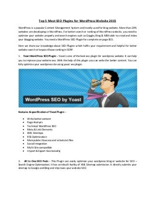 Top 5 most seo plugins for word press website 2015