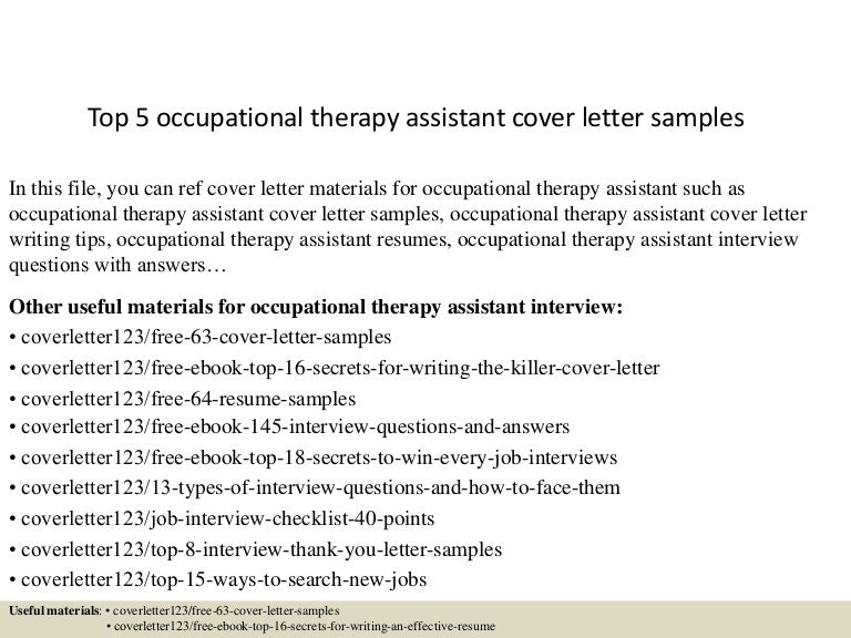 top 5 occupational therapy assistant cover letter samples occupational therapy cover letter