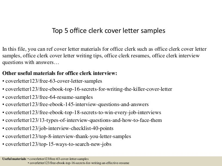 top5officeclerkcoverlettersamples 150618080954 lva1 app6891 thumbnail 4jpgcb1434615055 - Office Clerk Cover Letter