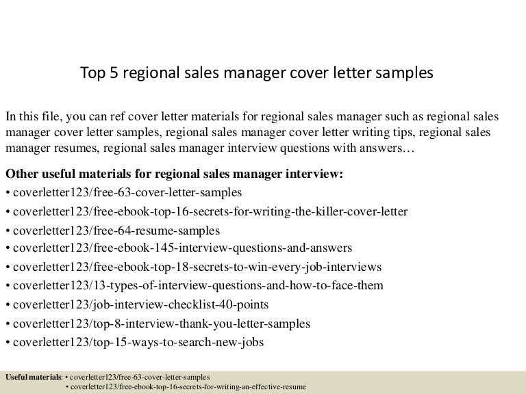 Sales Cover Letter. Top5Regionalsalesmanagercoverlettersamples ...