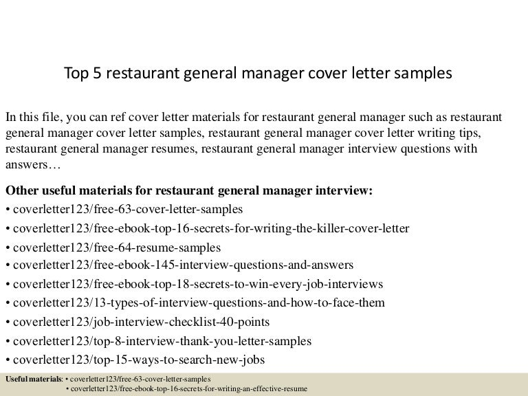top5restaurantgeneralmanagercoverlettersamples 150621080541 lva1 app6892 thumbnail 4jpgcb1434874004 - Sample It Manager Cover Letter