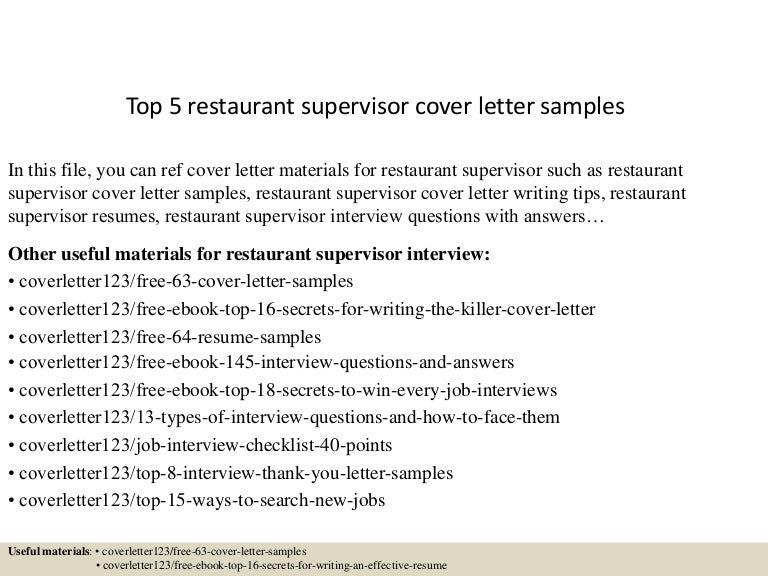 restaurant supervisor resume samples