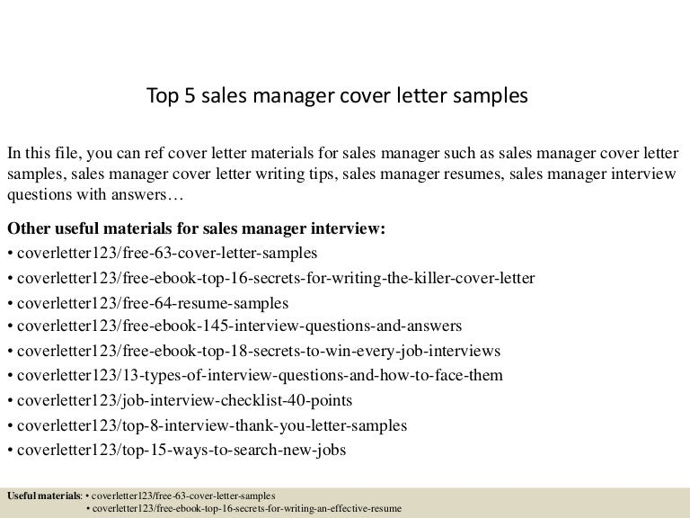 Top 5 Sales Manager Cover Letter Samples