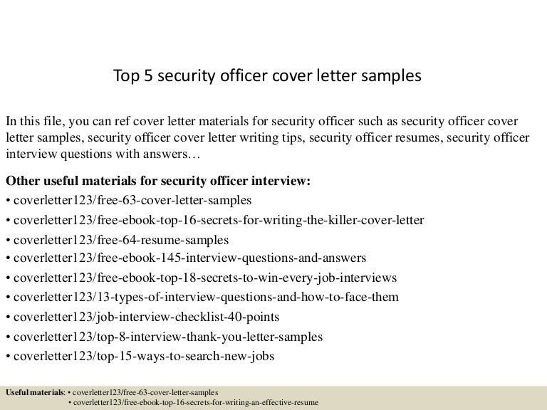 Top 5 Security Officer Cover Letter Samples