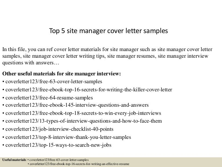 sample cover letters top 5 site manager cover letter samples 1805