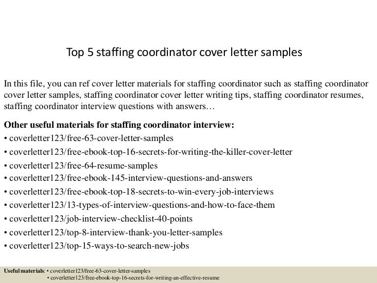 15 useful materials for staffing coordinator. Resume Example. Resume CV Cover Letter